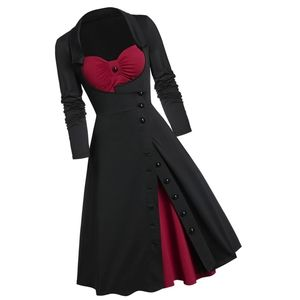 Dresses & Skirts - Long Sleeve Contrast Button Gothic Pin Up Dress